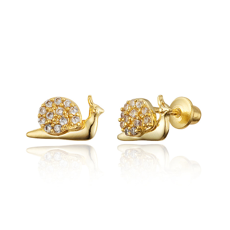 14k Gold Plated Brass Snail CZ Screwback Baby Girls Earrings with Silver Post