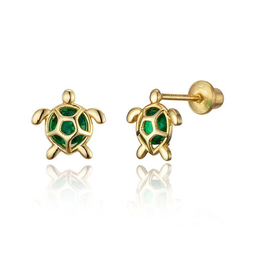 14k Gold Plated Brass Green Turtle CZ Screwback Girls Earrings with Silver Post