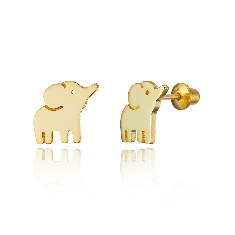 14k Gold Plated Brass Baby Elephant Screwback Baby Girls Earrings Silver Post