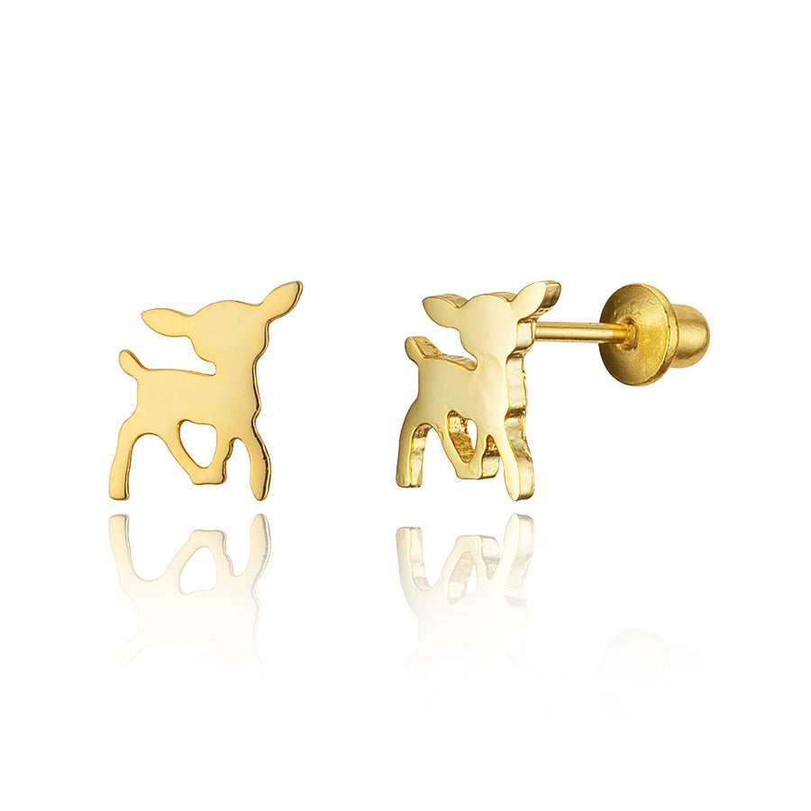 14k Gold Plated Brass Deer Screwback Baby Girls Earrings Sterling Silver Post
