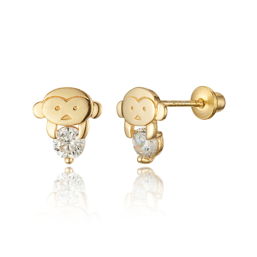 14k Gold Plated Brass Monkey CZ Screwback Baby Girls Earrings with Silver Post