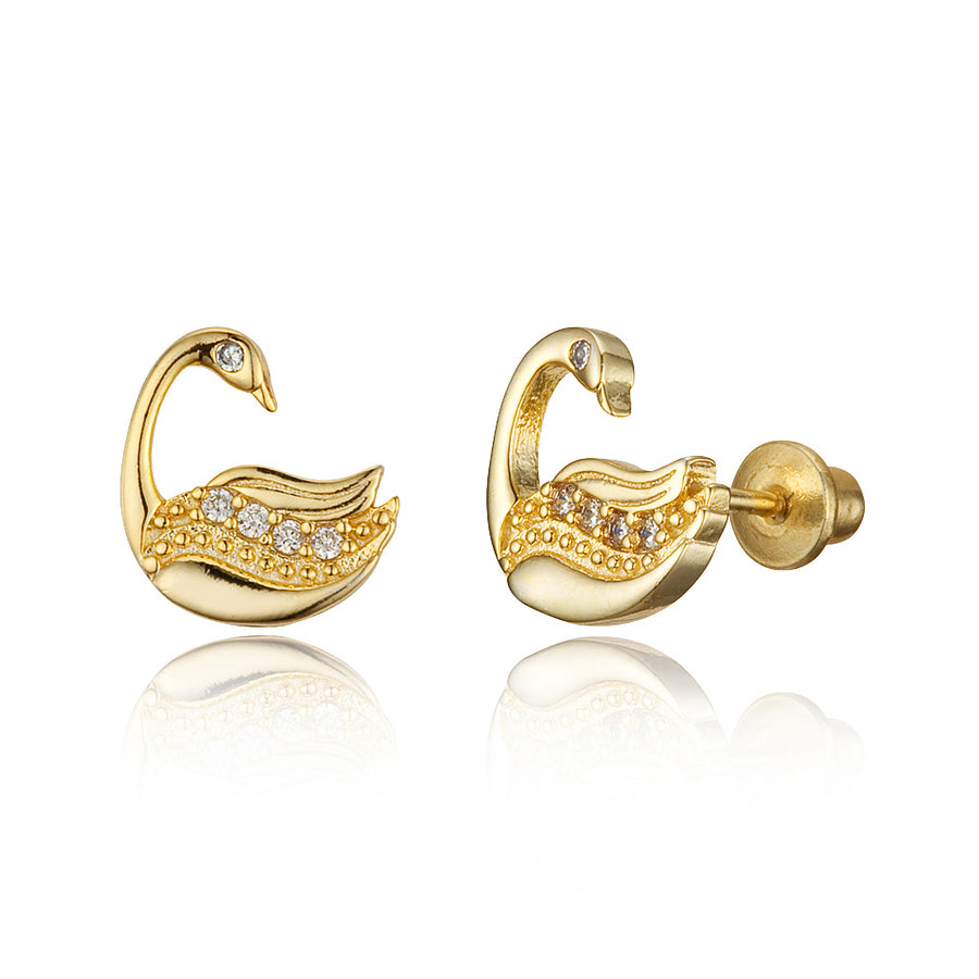 14k Gold Plated Brass Swan CZ Screwback Baby Girls Earrings with Silver Post