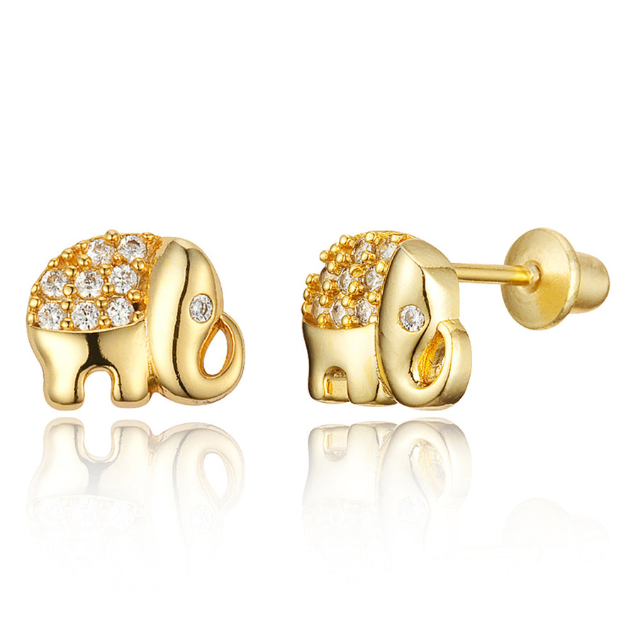 14k Gold Plated Brass Elephant CZ Screwback Girls Earrings with Silver Post