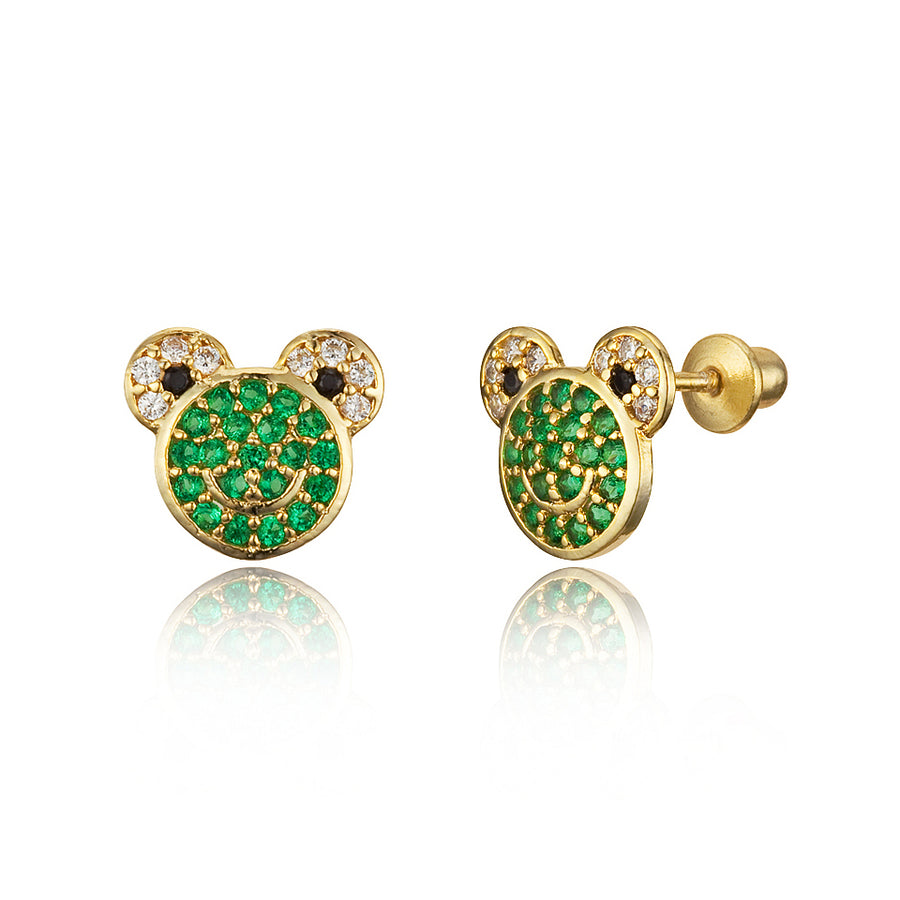 14k Gold Plated Brass Frog CZ Screwback Baby Girls Earrings with Silver Post