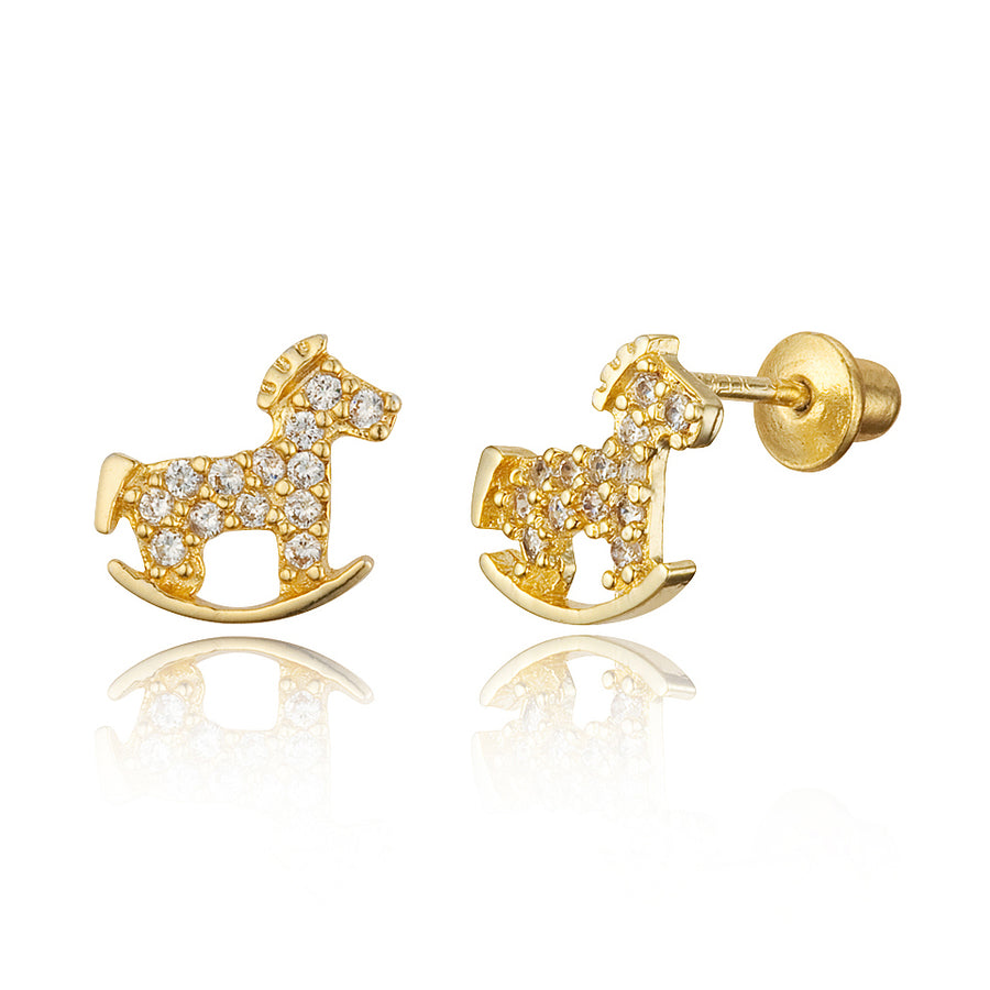 14k Gold Plated Brass Horse CZ Screwback Baby Girls Earrings with Silver Post