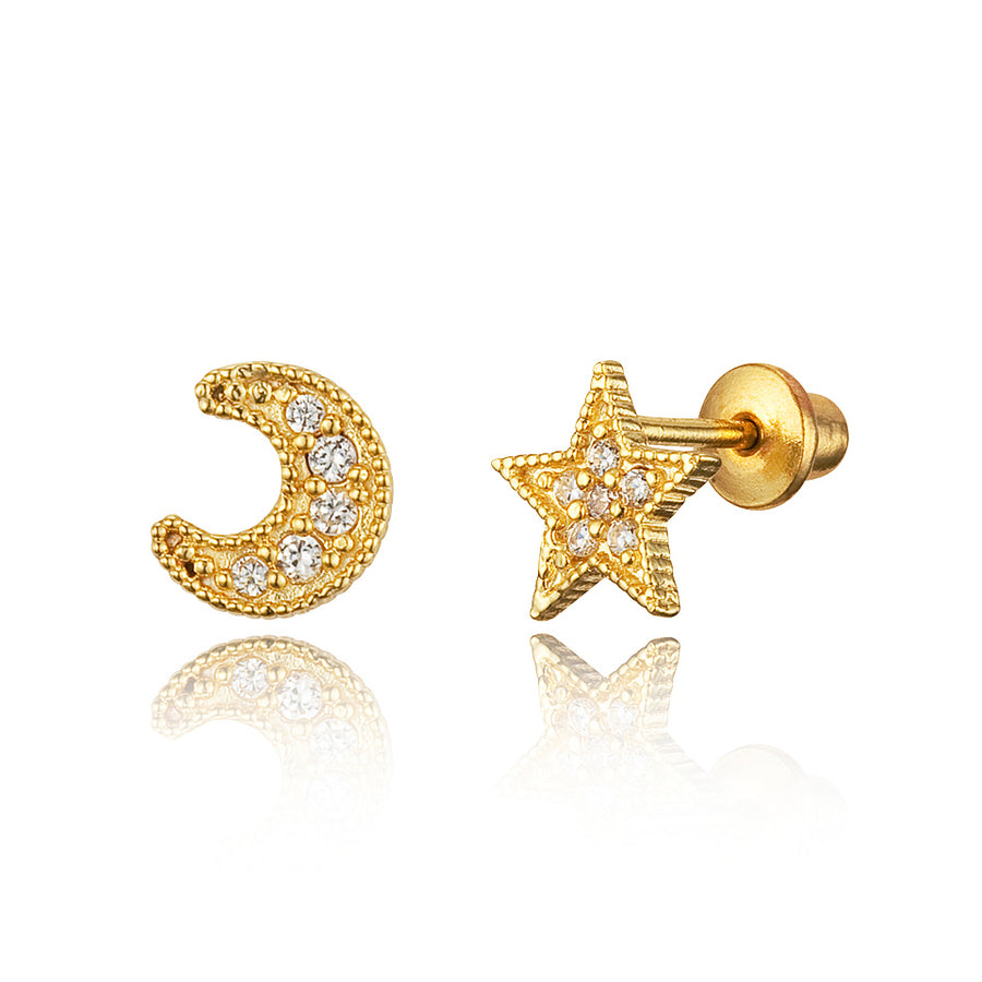 14k Gold Plated Brass Moon Star CZ Screwback Girls Earrings with Silver Post