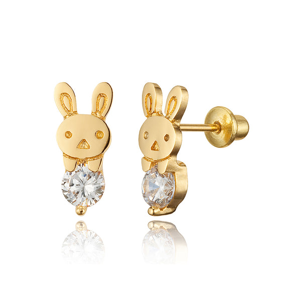 14k Gold Plated Brass Rabbit CZ Screwback Baby Girls Earrings with Silver Post