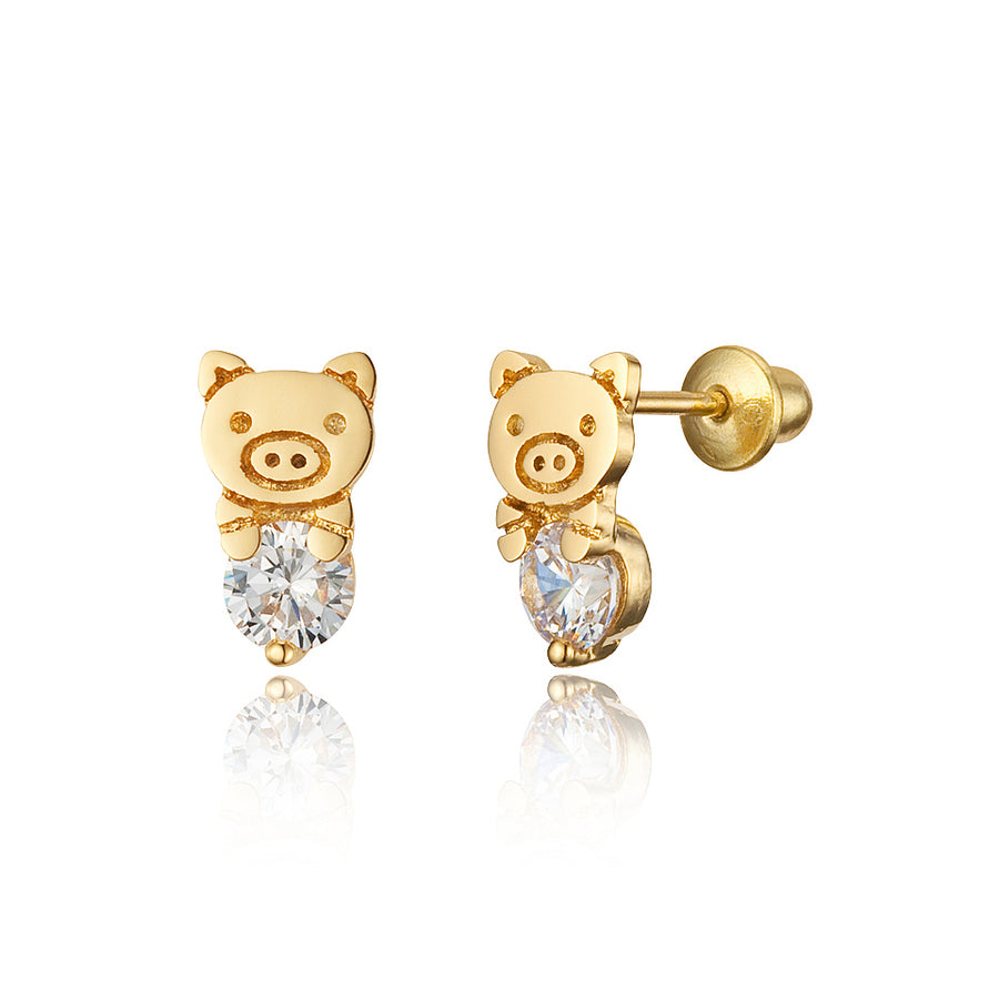 14k Gold Plated Brass Pig CZ Screwback Baby Girls Earrings Sterling Silver Post