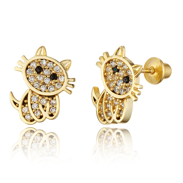 14k Gold Plated Brass Cat Screwback Girls Earrings with Sterling Silver Post