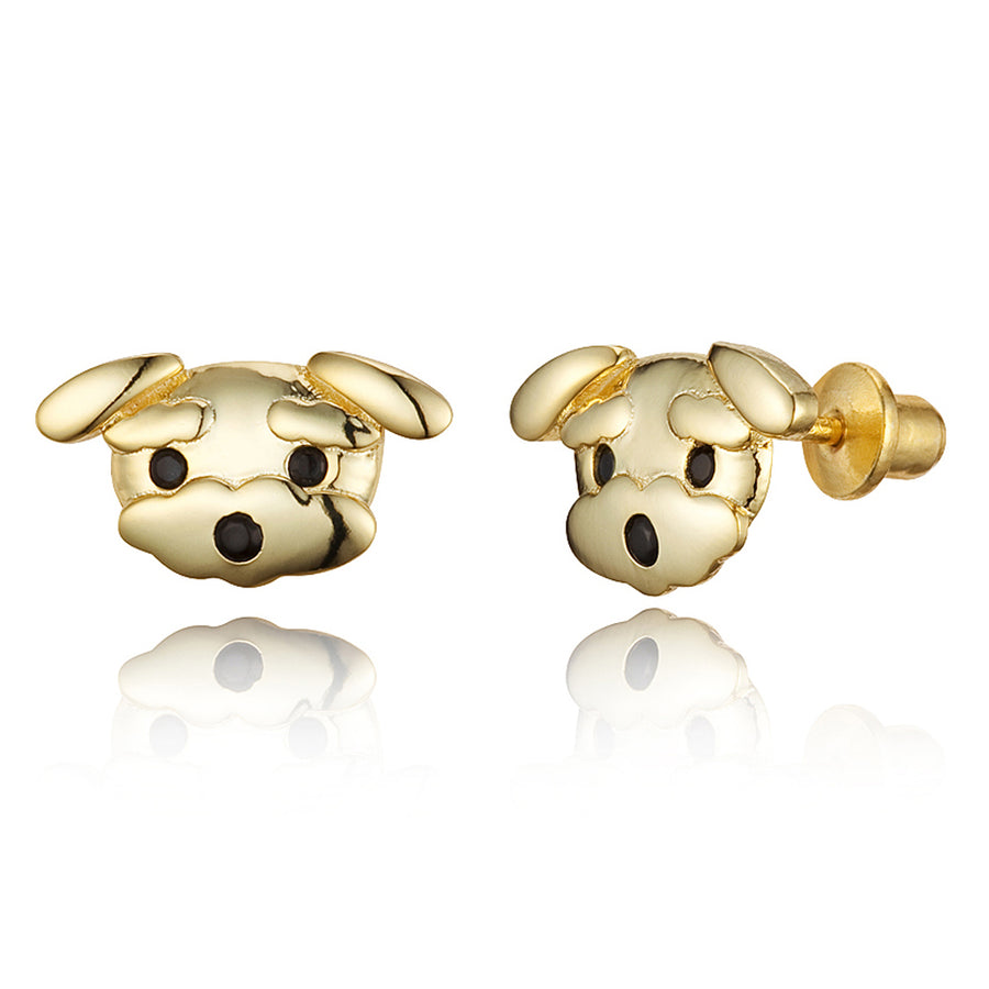 14k Gold Plated Brass Puppy CZ Screwback Baby Girls Earrings with Silver Post