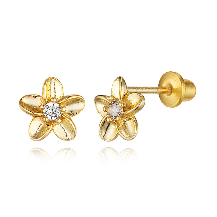 14k Gold Plated Brass Flower CZ Screwback Baby Girls Earrings with Silver Post