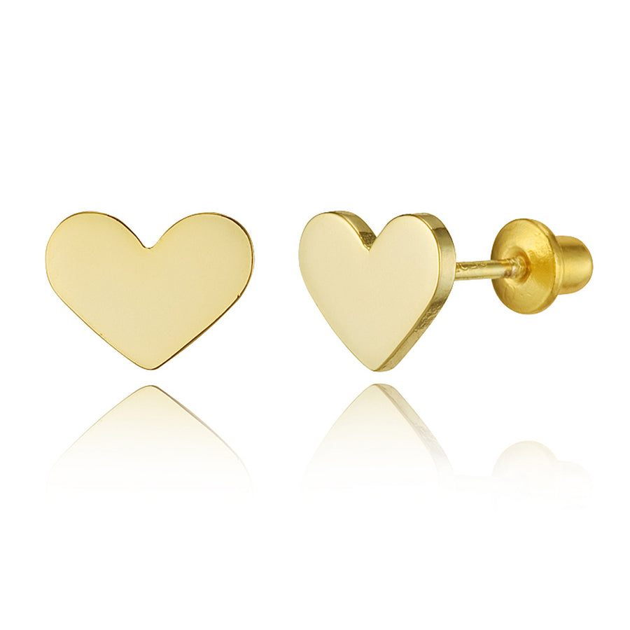 14k Gold Plated Brass Plain Heart Screwback Baby Girls Earrings with Silver Post