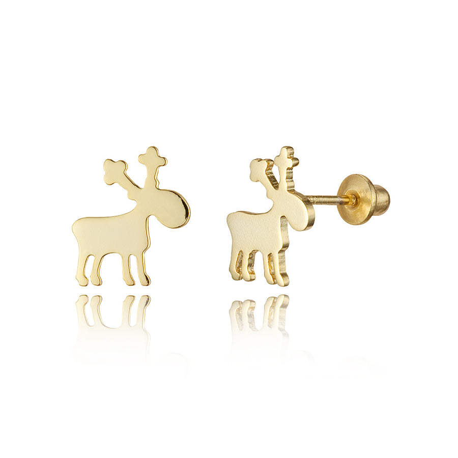 14k Gold Plated Brass Plain Reindeer Screwback Baby Girls Earrings Silver Post
