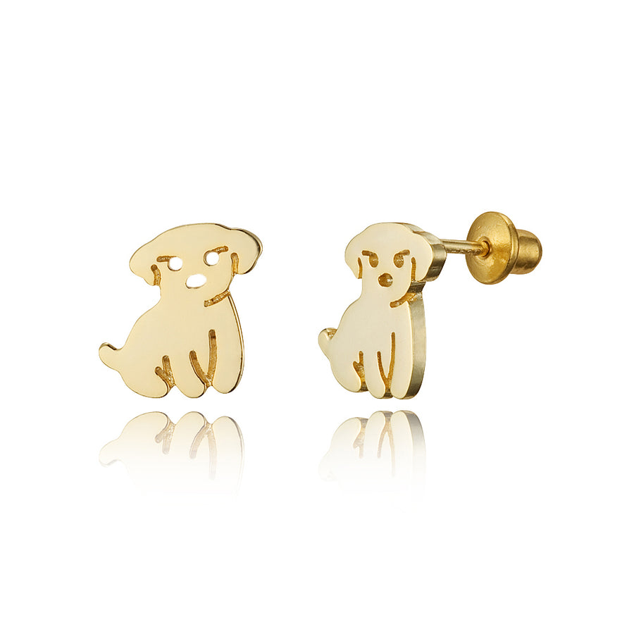 14k Gold Plated Brass Puppy Screwback Baby Girls Earrings Sterling Silver Post