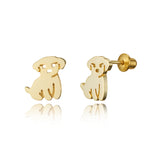 14k Gold Plated Brass Puppy Screwback Baby Girls Earrings with Sterling Silver Post