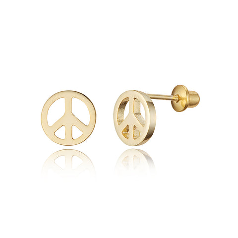 14k Gold Plated Brass Peace Symbol Sign Screwback Baby Girl Earrings Silver Post