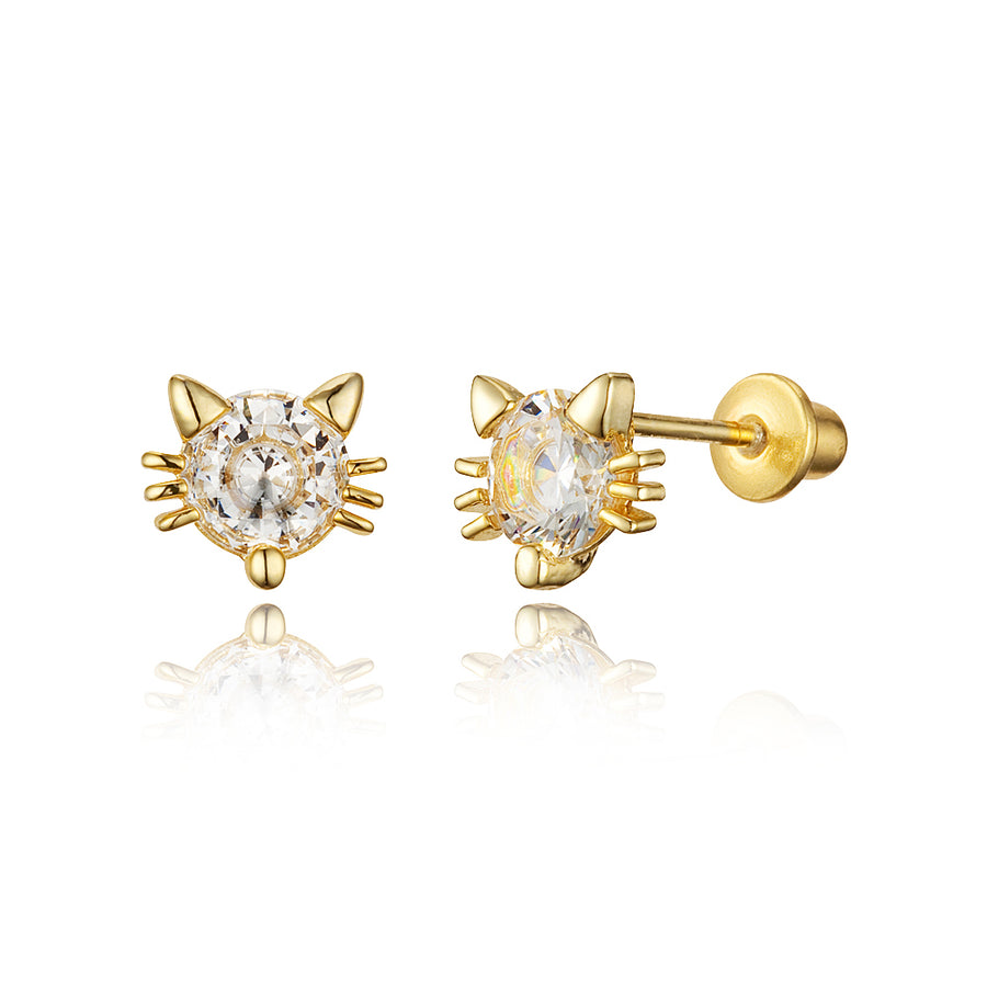 14k Gold Plated Brass Cat CZ Screwback Baby Girls Earrings Sterling Silver Post