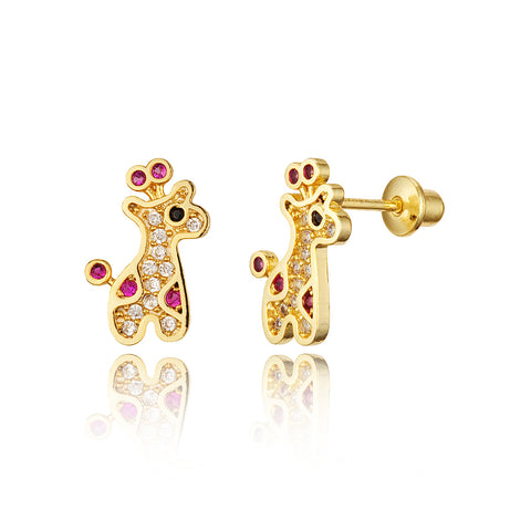 14k Gold Plated Brass Giraffe CZ Screwback Baby Girls Earrings with Silver Post