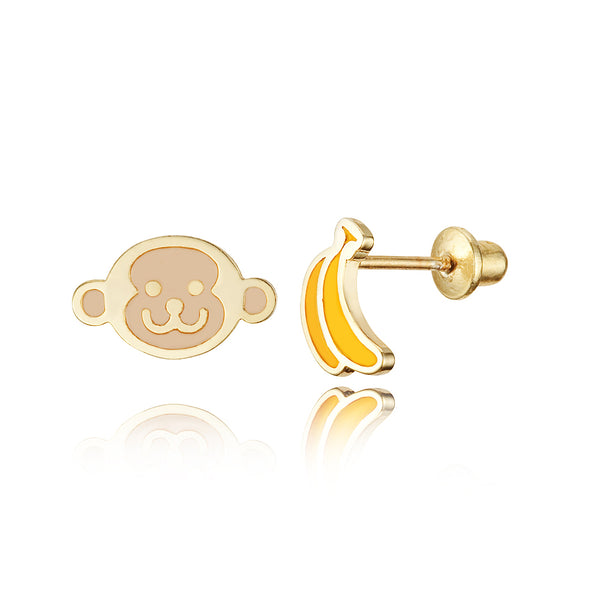 14k Gold Plated Enamel Monkey Banana Baby Girls Earrings Sterling Silver Post