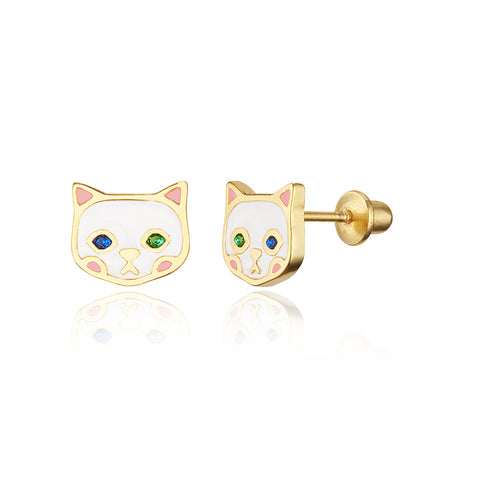 14k Gold Plated Enamel Cat Baby Girls Screwback Earrings Sterling Silver Post