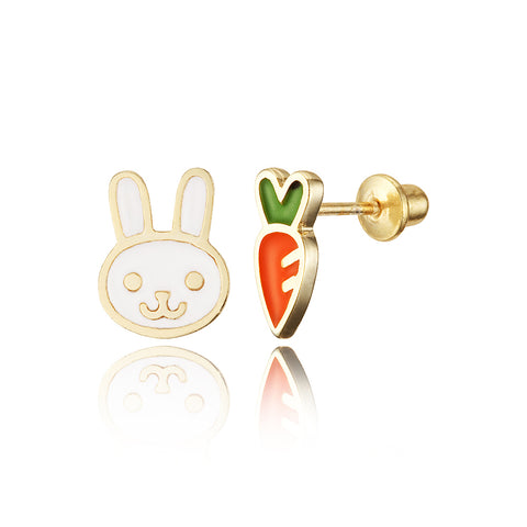 14k Gold Plated Enamel Rabit Carrot Baby Girls Earrings with Silver Post