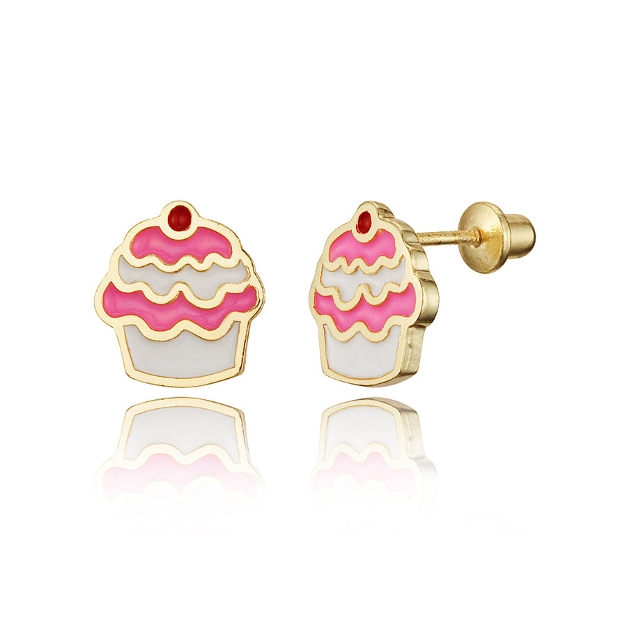 14k Gold Plated Enamel Cupcake Baby Girls Screwback Earrings with Silver Post