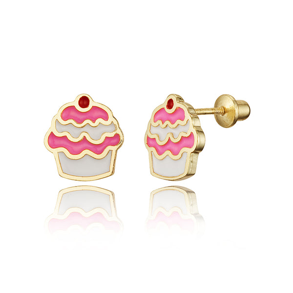 14k Gold Plated Brass Enamel Cup Cake Screwback Girls Earrings with Sterling Silver Post