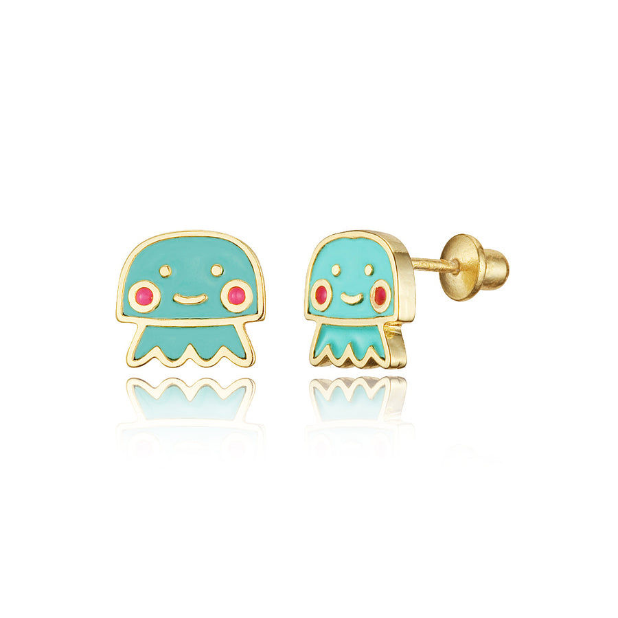 14k Gold Plated Enamel Jelly Fish Baby Girls Screwback Earrings with Silver Post