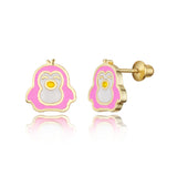 14k Gold Plated Enamel Penguin Baby Girls Screwback Earrings with Silver Post