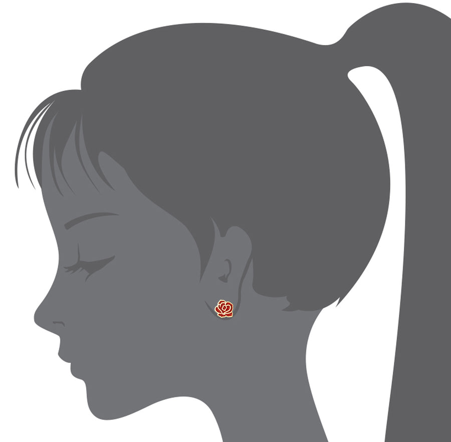 14k Gold Plated Enamel Red Rose Baby Girls Screwback Earrings with Silver Post