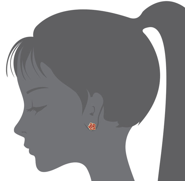 14k Gold Plated Enamel Red Rose Baby Girls Screwback Earrings with Sterling Silver Post