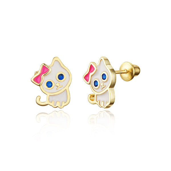 14k Gold Plated Brass Enamel Cat Screwback Girls Earrings with Sterling Silver Post