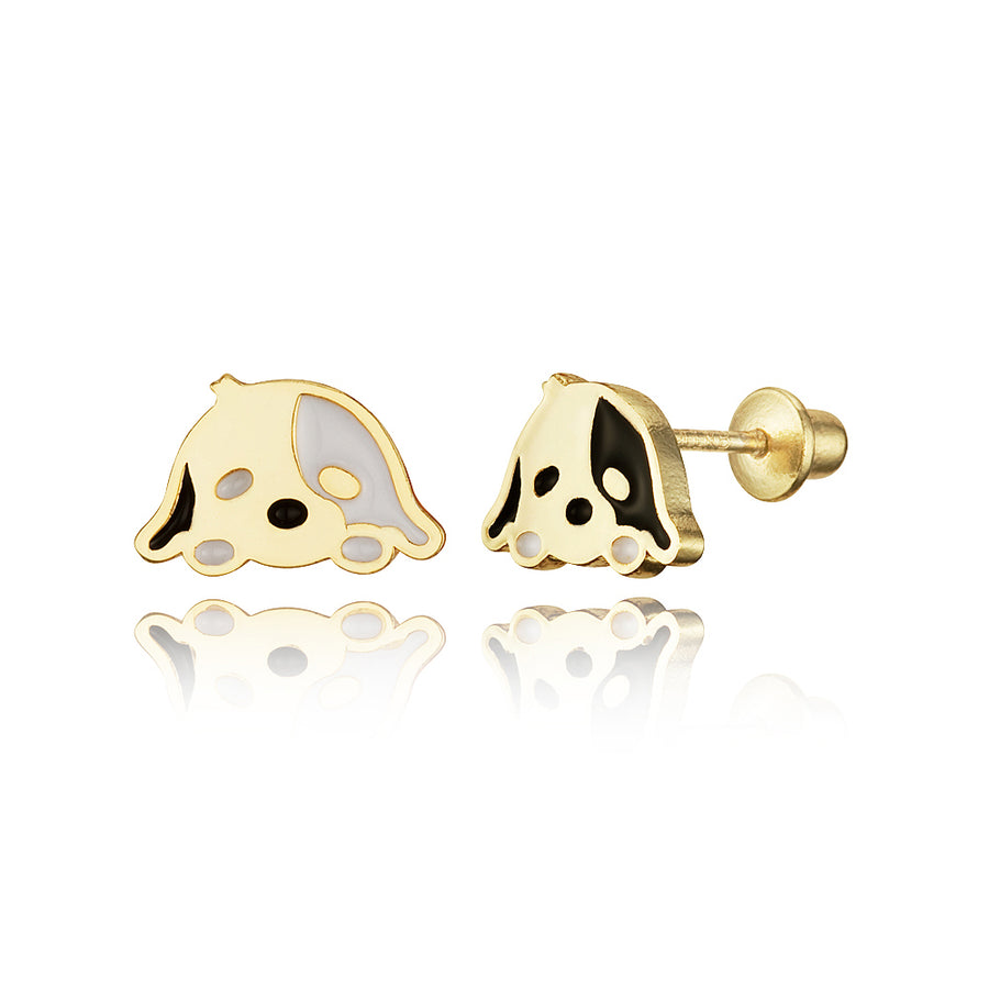 14k Gold Plated Enamel Dog Puppy Baby Girls Screwback Earrings with Silver Post