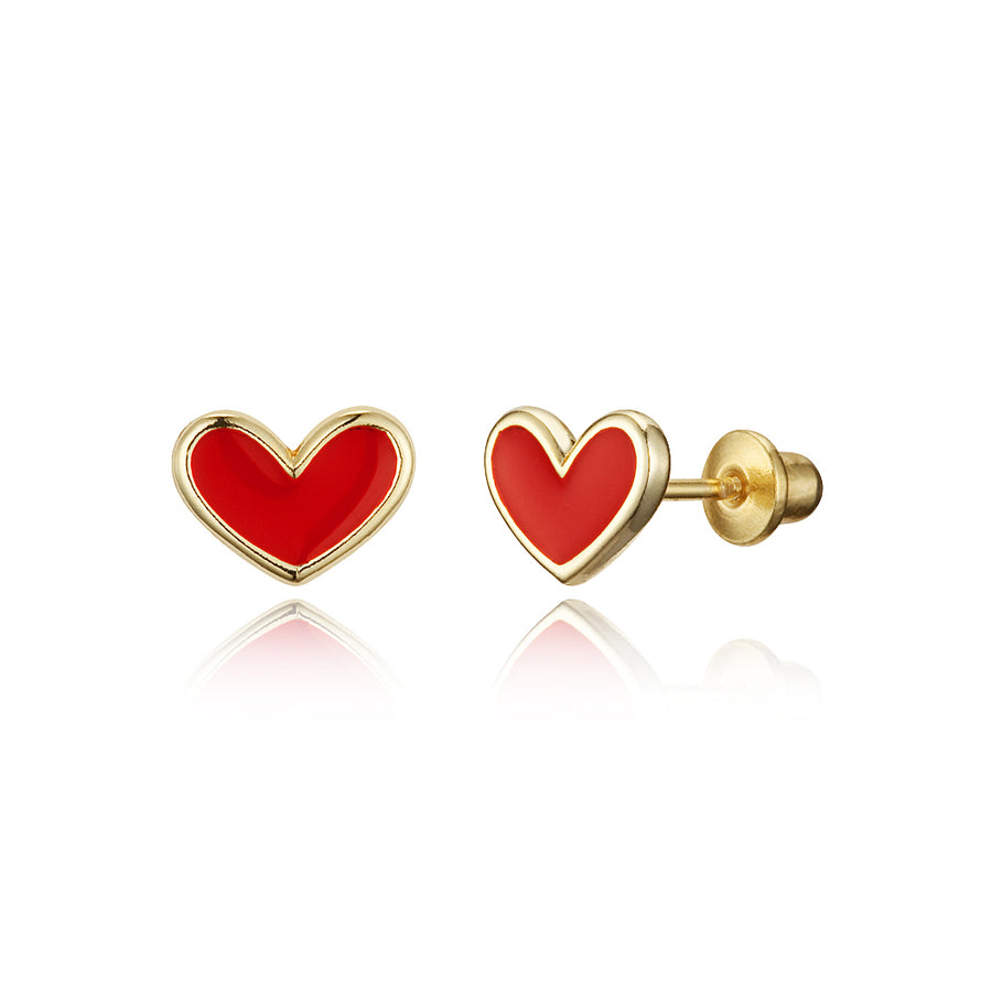 14k Gold Plated Enamel Red Heart Baby Girls Screwback Earrings with Silver Post