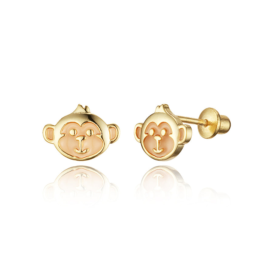 14k Gold Plated Enamel Monkey Baby Girls Screwback Earrings Sterling Silver Post