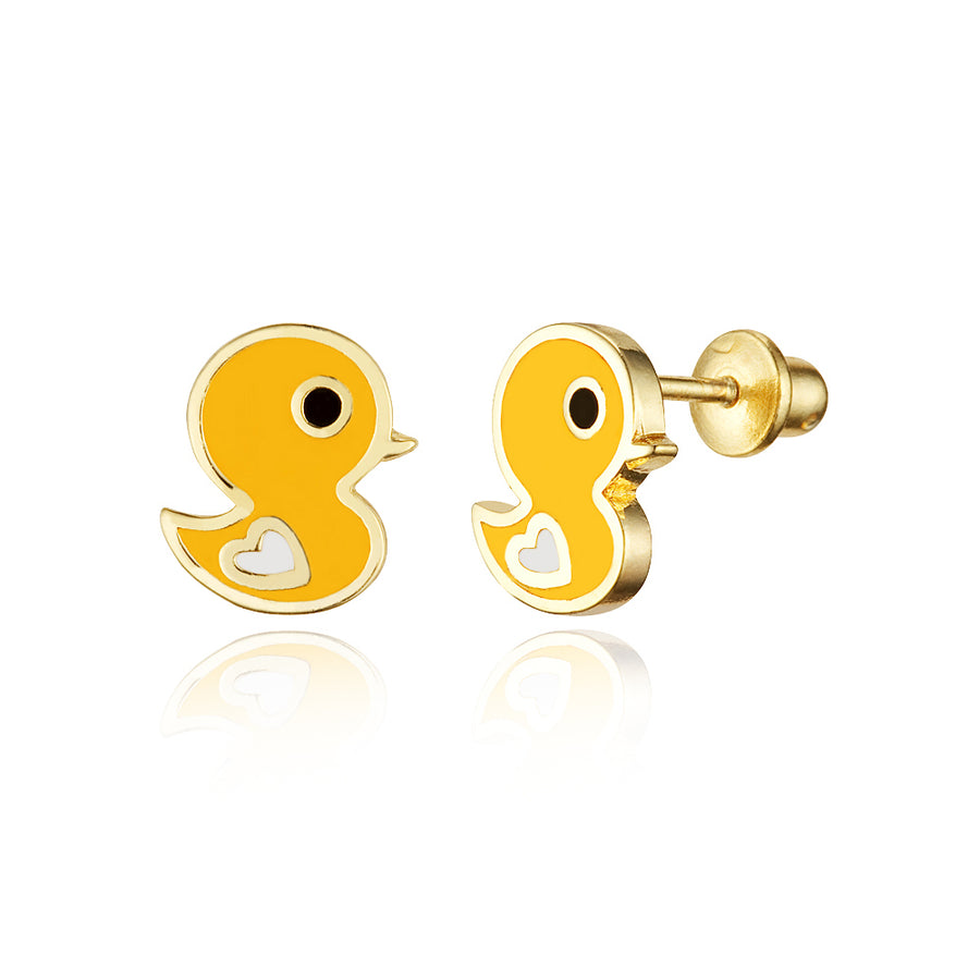 14k Gold Plated Enamel Chick Baby Girls Screwback Earrings Sterling Silver Post