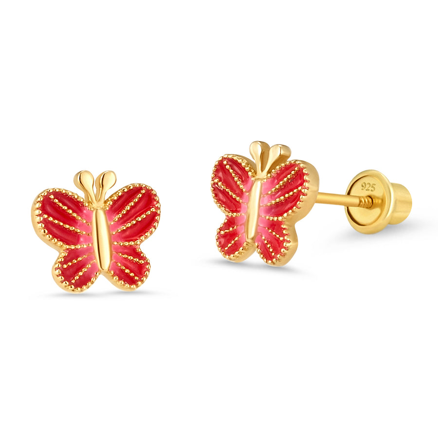 14k Gold Plated Enamel Butterfly Baby Girl Screwback Earring Sterling Silver Post