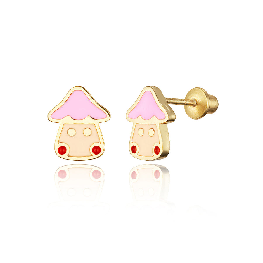 14k Gold Plated Enamel Mushroom Baby Girls Screwback Earrings with Silver Post