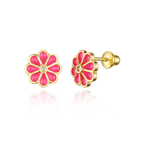 14k Gold Plated Enamel Red Flower CZ Girls Screwback Earrings with Silver Post