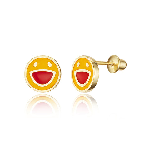 14k Gold Plated Enamel Happy Face Baby Girls Screwback Earrings with Silver Post