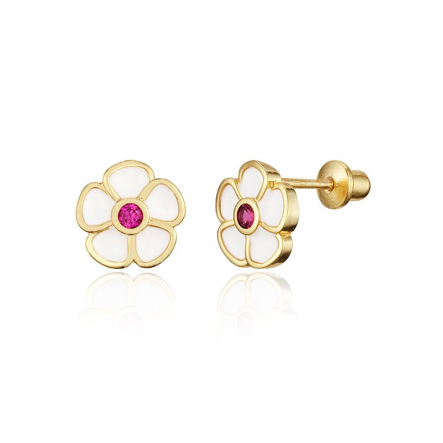 14k Gold Plated Enamel Red Flower Baby Girls Screwback Earrings with Silver Post