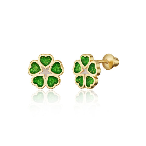 14k Gold Plated Enamel Clover Baby Girls Screwback Earrings Sterling Silver Post