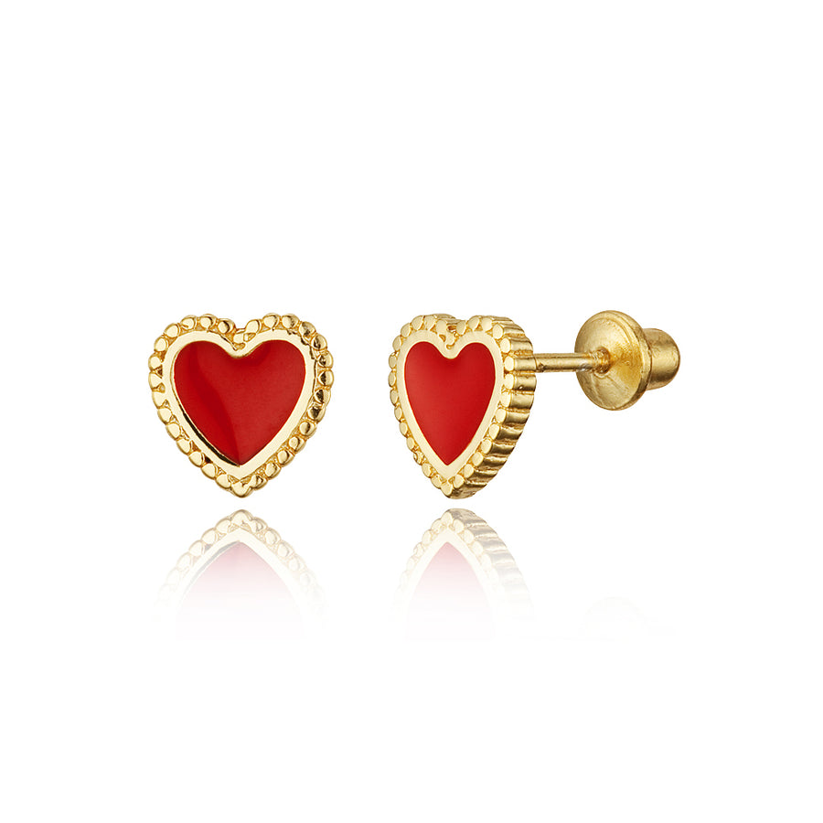 14k Gold Plated Enamel Heart Baby Girls Screwback Earrings Sterling Silver Post