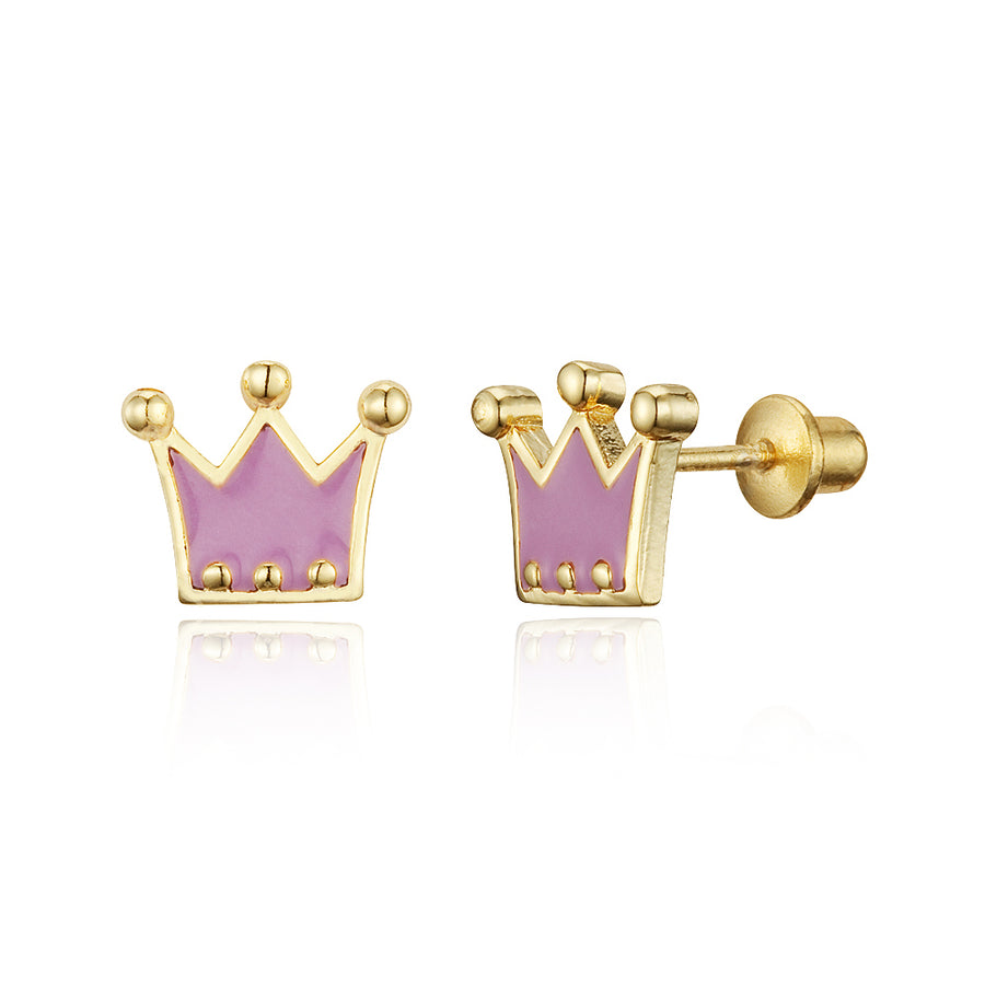 14k Gold Plated Enamel Princess Crown Baby Girls Screwback Earrings Silver Post