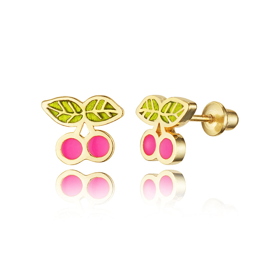 14k Gold Plated Enamel Cherry Baby Girls Screwback Earrings Sterling Silver Post