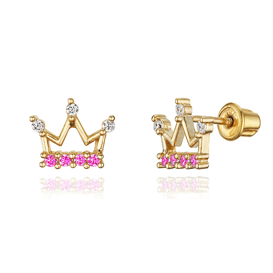 14k Gold Plated Brass Princess Crown CZ Screwback Baby Girl Earrings Silver Post
