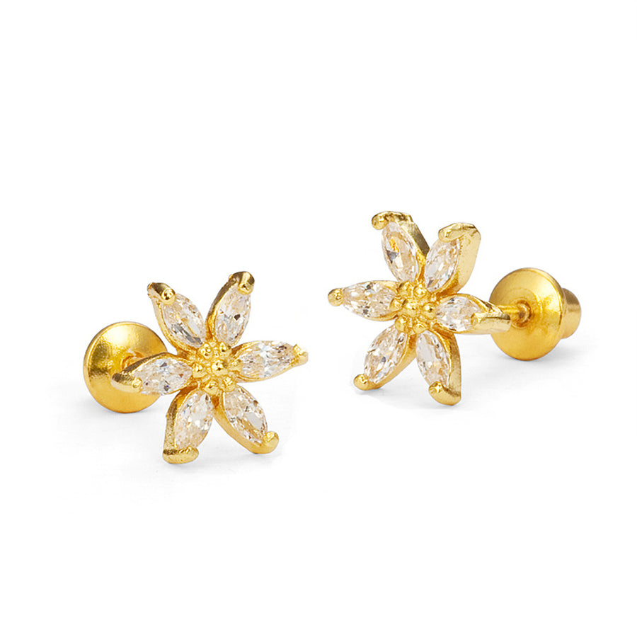 14k Gold Plated Brass Flower CZ Baby Girls Screwback Earrings with Silver Post