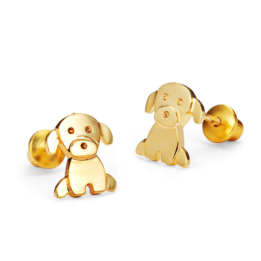 14k Gold Plated Baby Puppy CZ Baby Girls Screwback Earrings Silver Post
