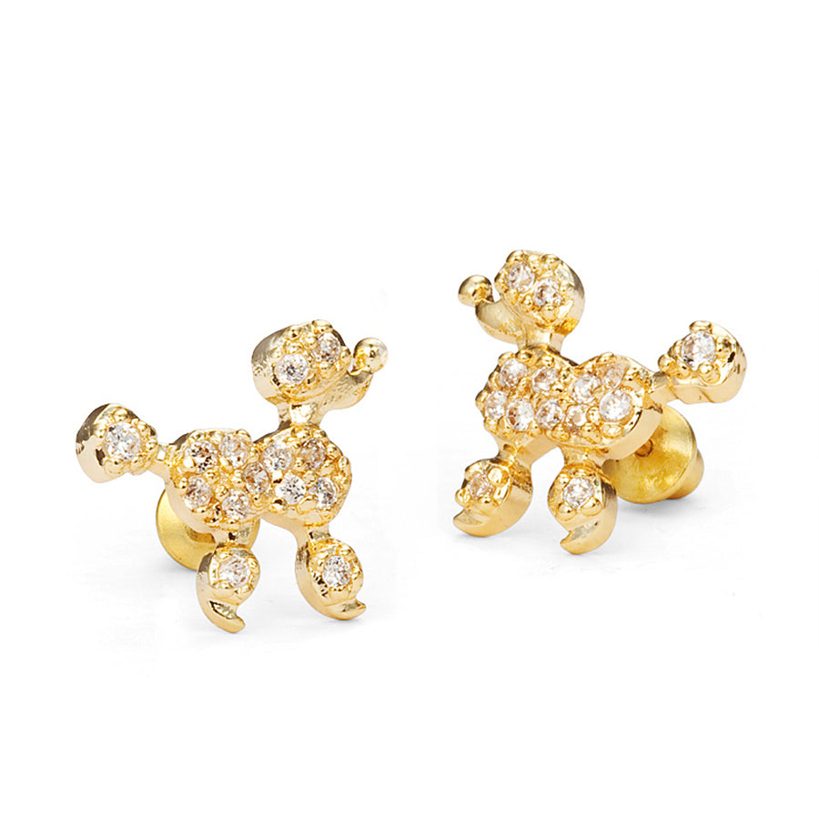 14k Gold Plated Brass Poodle CZ Screwback Baby Girls Earrings Silver Post