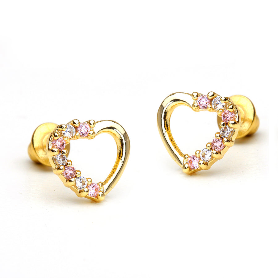 14k Gold Plated Brass Open Heart CZ Screwback Girls Earrings with Silver Post